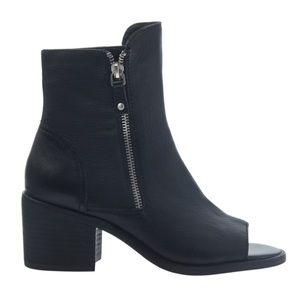 Nicole Nina Open Toe Booties in Black Side Zip